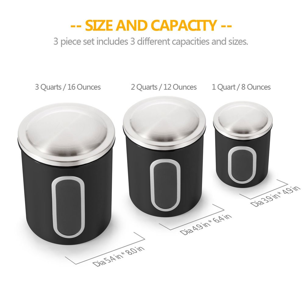 Canisters Set of 3, Nested Kitchen Canisters with Stainless Steel Airtight Lids and Windows, Black