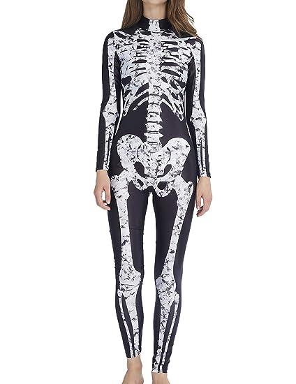 AIDEAONE Disfraz de Halloween Señoras Esqueleto Mono Huesos ...