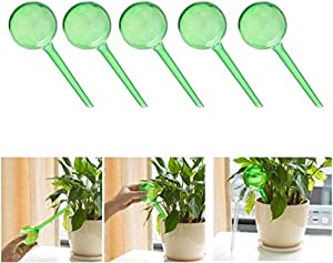 5Pcs Plant Watering Bulbs, Automatic Self-Watering Globes Plastic Balls Garden Water Device Watering Bulbs for Indoor & Outdoor Plants(Green)