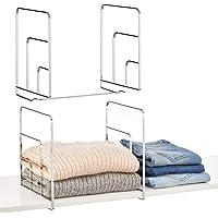 mDesign Juego de 2 separadores metálicos para organizar armarios y estanterías – Prácticos divisores de estantes y…