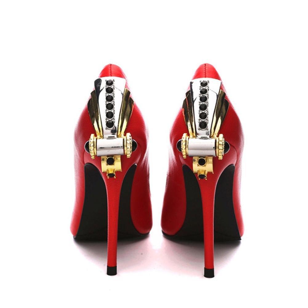 Frauen high heels rote leder leder rote metall diamant schuhe pumps casual geschlossene zehe party hochzeit büro bühne Sandale ROT 4655c2