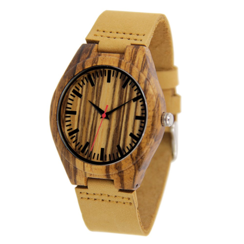 Natural Zebra Watches for Men with Genuine Leather Strap Gift Watch