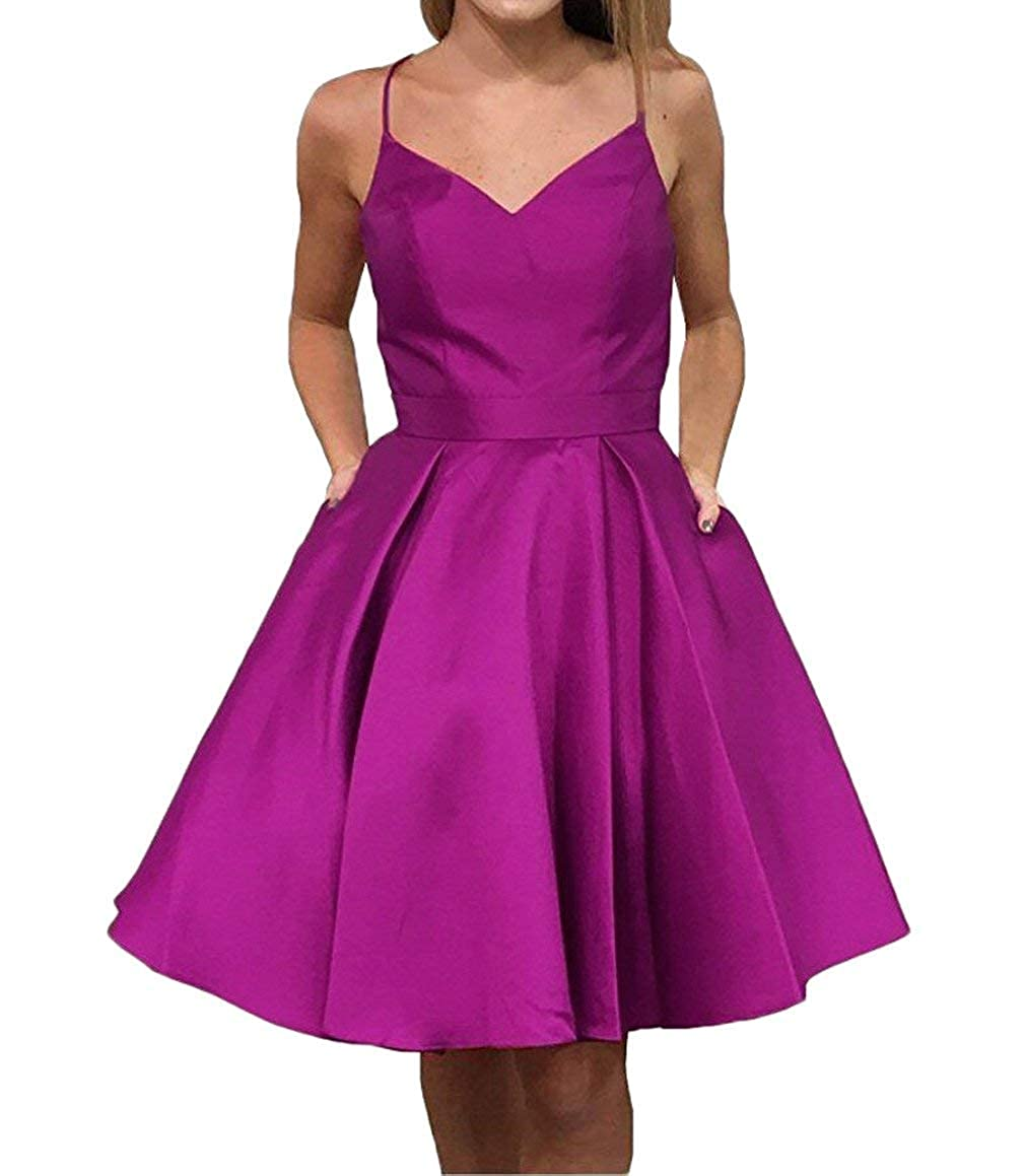 Fuchsia JQLD Cute Straps Knee Length Homecoming Dresses Short Sleeveless Party Cocktail Dress with Pockets