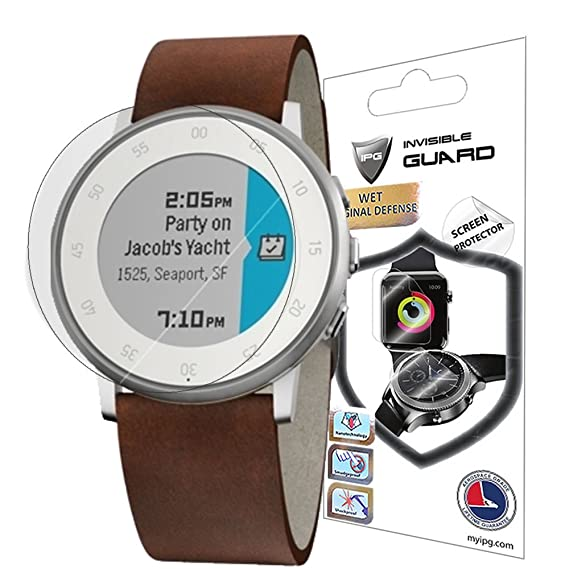 IPG for Pebble TIME Round Screen (2 Units) Invisible Protector Anti-Bubble/Ultra HD Clear Shield Skin Anti Scratch