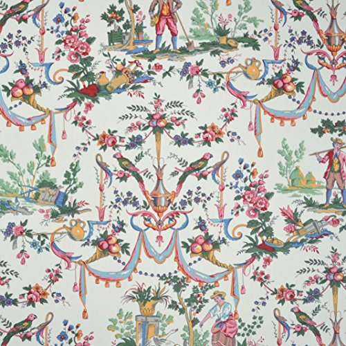 Double Width Luxury Toile de Jouy Fabric (La vie à la campagne) - rich and colorific statement print on a lightly-glazed, lightweight cloth | 100% Cotton Designer Print | 110 inches wide | Per yard