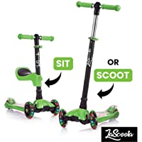 LaScoota 2-in-1 Kick Scooter with Removable Seat Great for Kids & Toddlers Girls or Boys - Adjustable Height w/Extra-Wide Deck PU Flashing Wheels for Children from 2 to 14 Year-Old