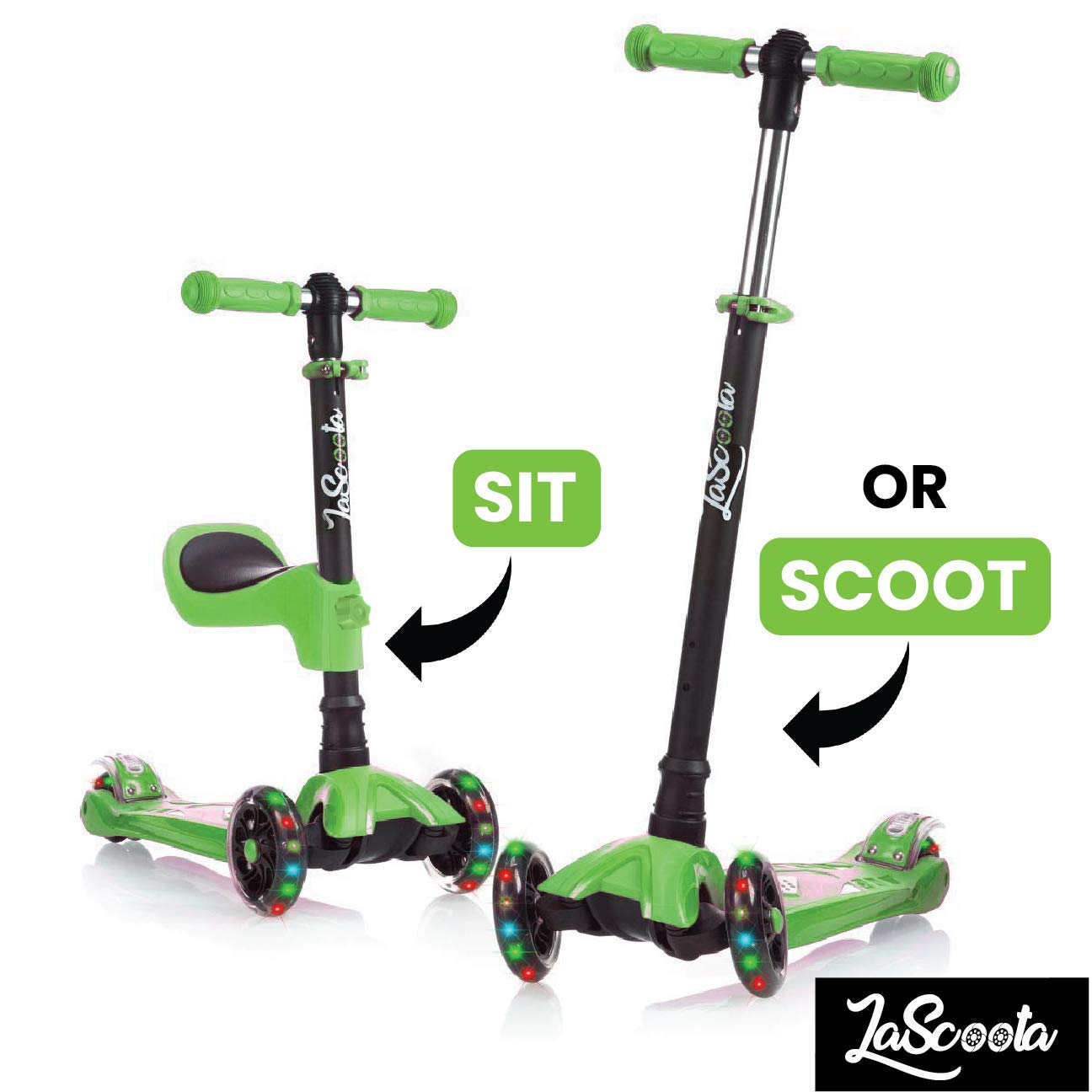 Lascoota 2-in-1 Kick Scooter with Removable Seat Great for Kids & Toddlers Girls or Boys - Adjustable Height w/Extra-Wide Deck PU Flashing Wheels for Children from 2 to 14 Year-Old (Green)