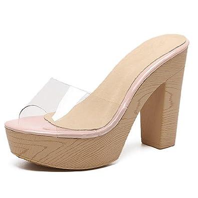 Women Platform High Heeles Slippers by Dear Time US 4