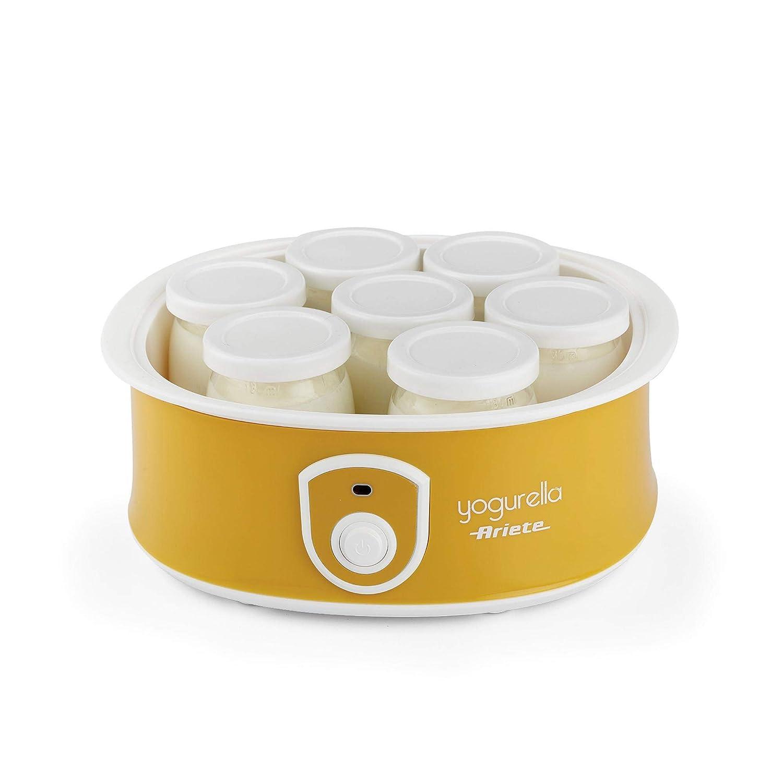 Ariete 626 626-Yogurtera, Capacidad de 1 litro, 6 tarros, luz indicador, 20 W, 1 Liter, Blanco y Amarillo