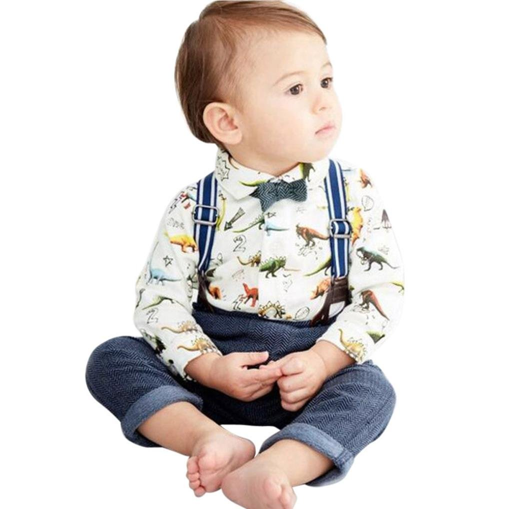 Binmer Baby Boy 2pcs Outfits Toddler Kids Shirt Romper+Suspenders Pants With Dinosaur Print Sets(6M-3T) (80) by Binmer