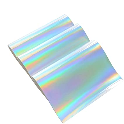 Amazon 3 Pieces A4 Size Silver Holographic Faux Leather Fabric