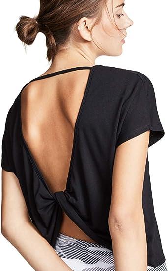 RIOJOY - Camiseta de Manga Corta para Mujer con Espalda ...