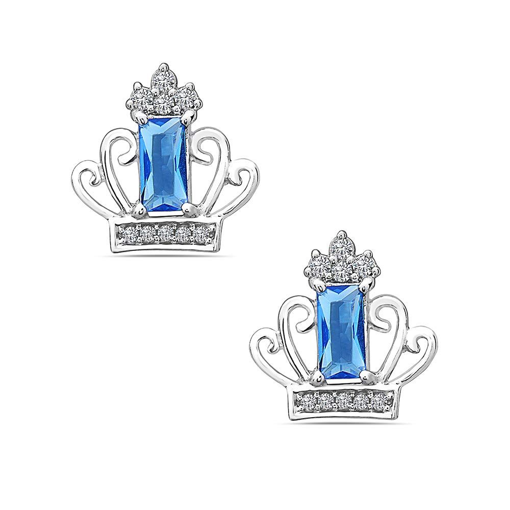 Tanzanite Stud Earrings 925 Solid Sterling Silver Mini Crown Cubic Zirconia Dainty Royal Tiny Jewelry