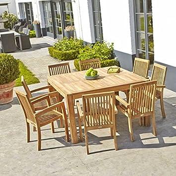 Table de Jardin en Bois de Teck carrée 6 à 8 Places: Amazon.fr: Jardin