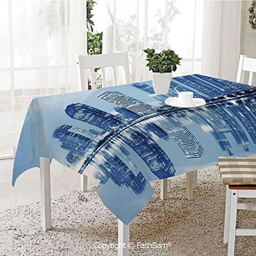 FashSam Party Decorations Tablecloth Night Scene of City Buildings Architecture Twilight Water Reflection Metropolitan Dining Room Kitchen Rectangular Table Cover(W60 xL84) - Metropolitan Rectangular Dining Table