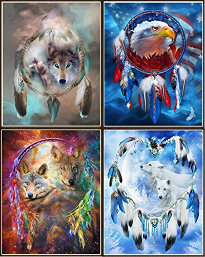 Newbested 4 PCS DIY Diamond Painting 5D Home Decoration Handmade Rhinestone Embroidery Mosaic Cross Stitch(Wolves and (Eagle Cross Stitch)