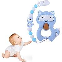 Juguetes para la dentición del bebé Mordedor de silicona libre de BPA Chew Egg con chupete Clip lindo y efectivo para aliviar el dolor Raccoo para niños o niñas con estilo (Azul)