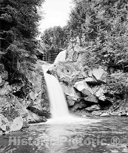 Restored Black & White Photo - Historic Rutland, Vermont - A Hidden Waterfall, Rutland, c1907 | 44in x 55in