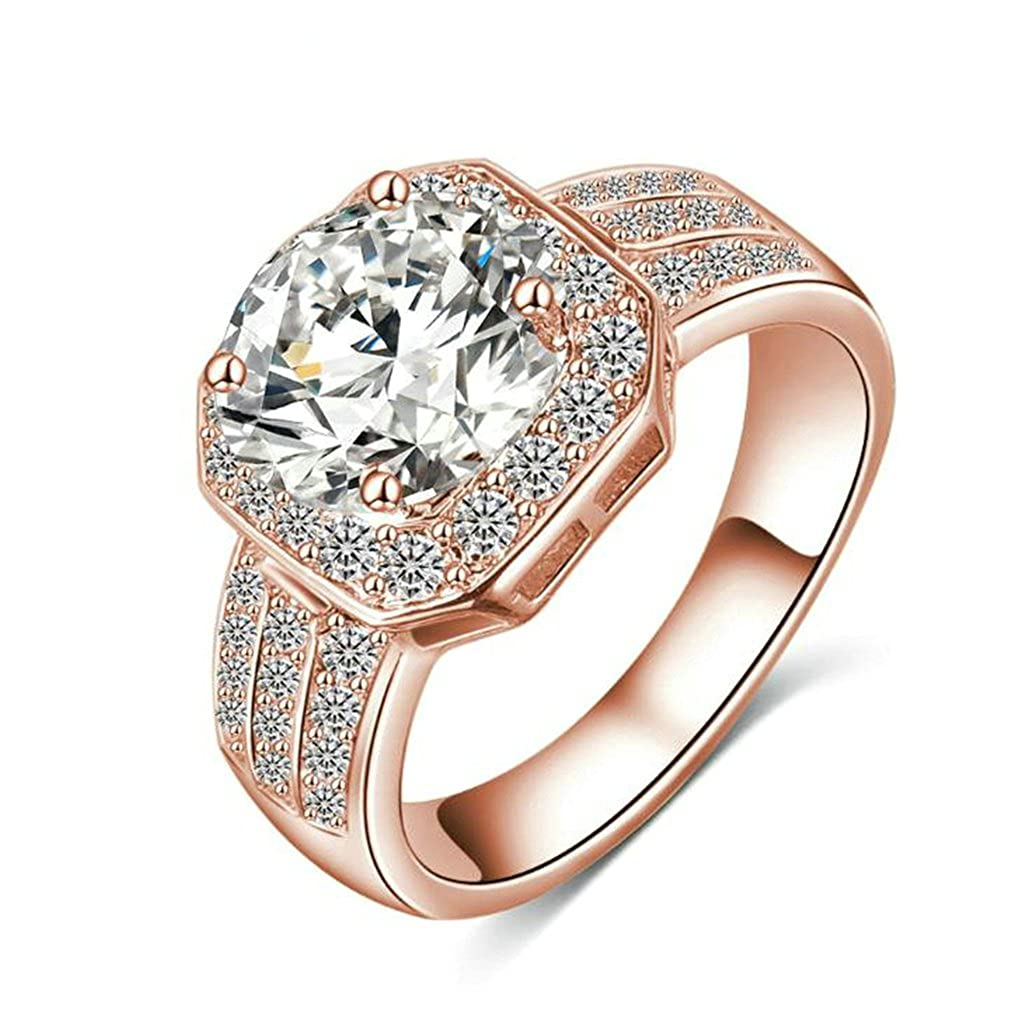Bishilin Rose Gold Plated Engagement Ring Round Cubic Zirconia Inlaid Anniversary Rings for Her Size 7
