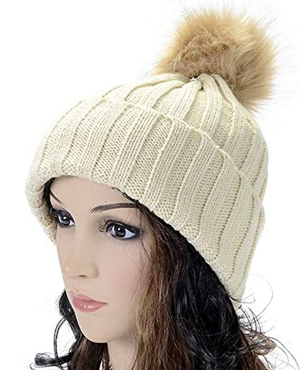 419bc8e97cb Image Unavailable. Image not available for. Color  Vocni Womens Thick Cable  Knit Caps Faux Fuzzy Fur Pom Skull Cap Cuff Beanie Hats