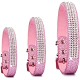 Pet's House Dog Collars for Large Dogs Female Bling Personalized Girl Pitbull Leather Pink Spikes Sparkle Training Thick Shock