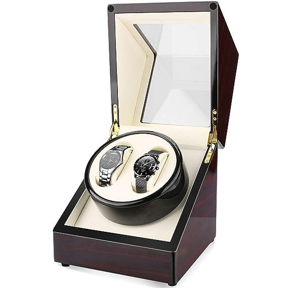 Caja giratoria para Relojes,Gifort Automática Watch Winder de Doble Reloj,Enrollador De Reloj De Cuerda AutomáTica 2, Caja De Almacenamiento De ...