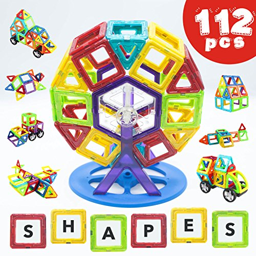 Creative Kids Toy Store - Magnetic Building Blocks 112 Piece - Set by LIVEWELL. Magnet Shapes, Huge 112 Pcs! Educational Toys for Boys & Girls, Toddlers & Up. Creative Toy Uses Magnets & Tiles for Construction