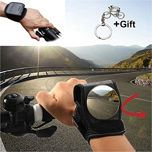 Bike Mirrors, West Biking Bicycle Rear View Mirror for Cyclists Safety Mountain Road Bike Riding Cycling Accessories, Motorbike Handlebar Reflector Wristband Wrist Mirror for Commuters Kids Xmas Gifts