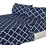 Utopia Bedding 4-Piece Bed Sheet Set (Full, Navy) - 1 Flat Sheet, 1 Fitted Sheet, and 2 Pillow Cases - Hotel Quality Luxurious Brushed Velvety Microfiber - Soft and Durable - Machine Washable