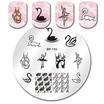 Born Pretty Nail Art Stamping Template Ballet Swan Lake Theme Dance