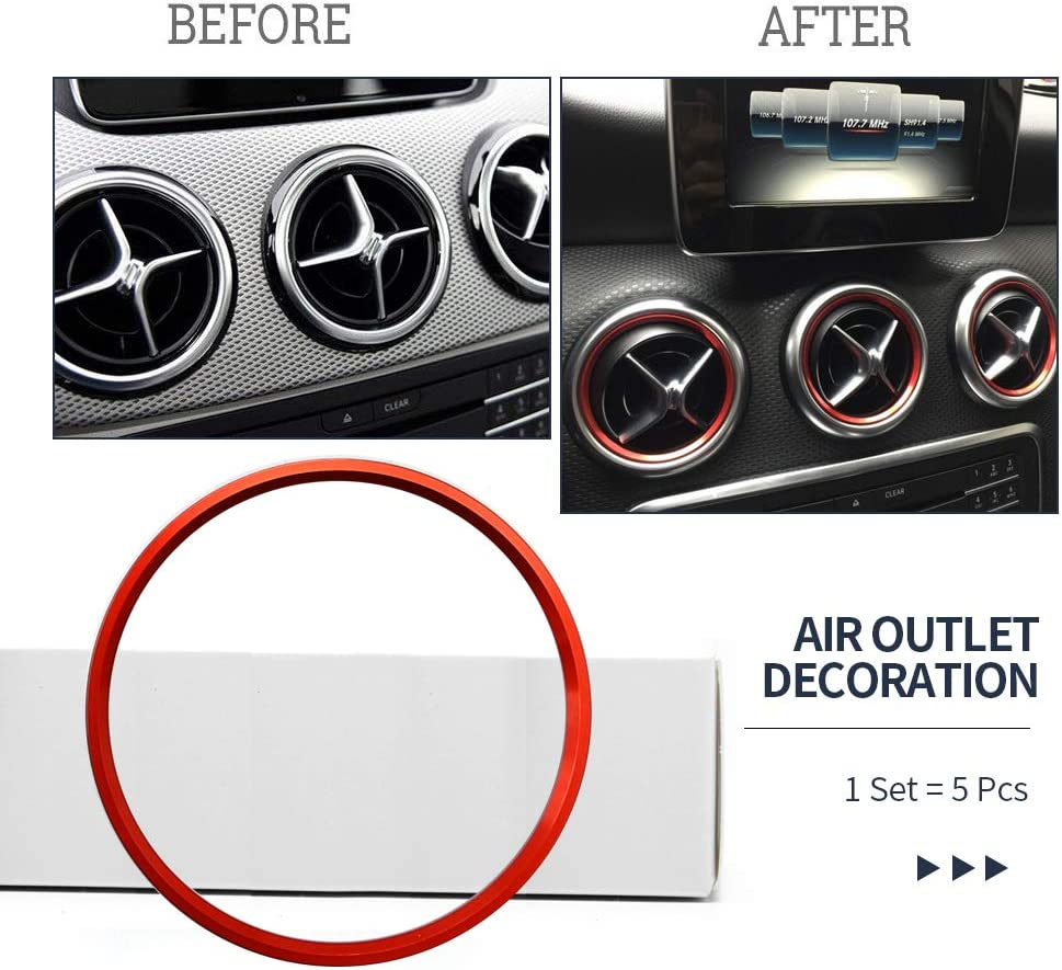 Red 5 Pcs//Set Outside Air Condition Air Vent Outlet Ring Cover Trim Decoration