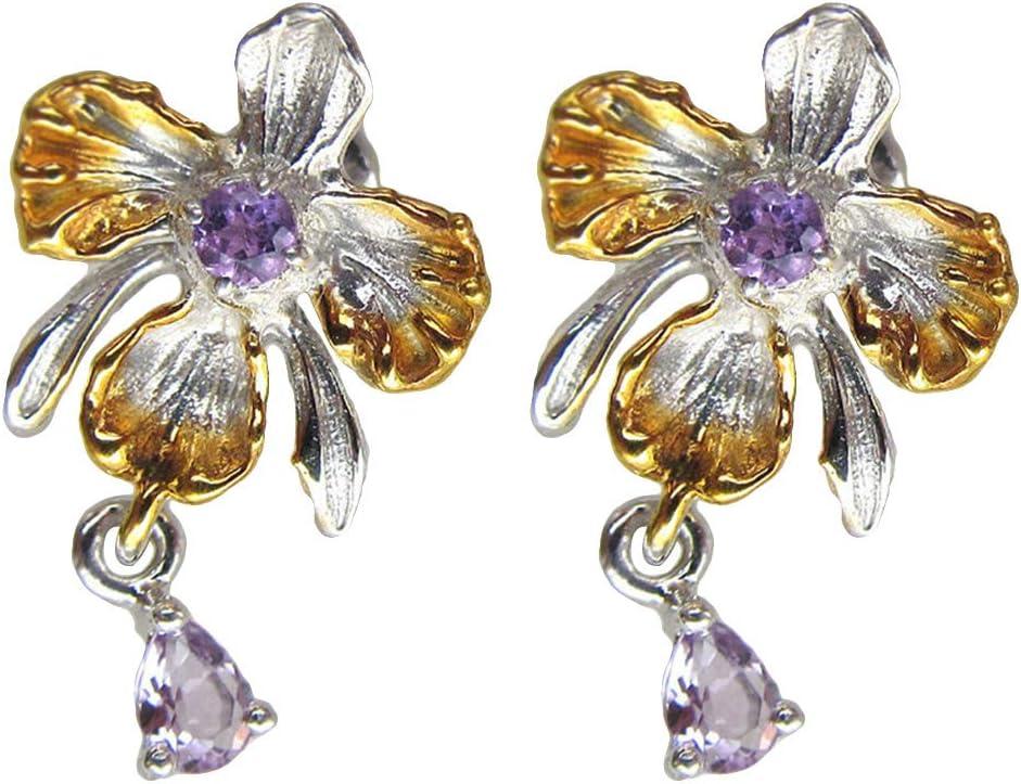 Centraliain - Pendientes para mujer, elegantes y falsos amatista con diseño de flor de orquídea