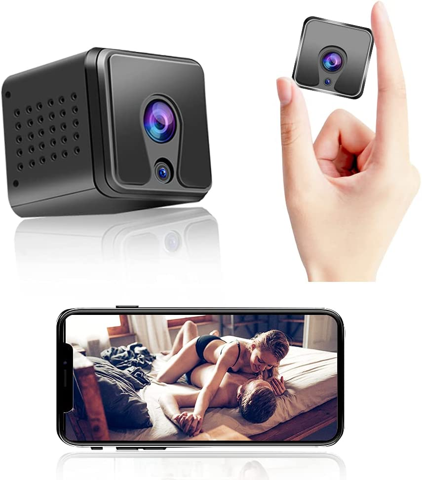 Mini Spy Camera 1080P , Hidden Camera with Audio Video Recording Live Wireless Nanny Camera with Night Vision and Motion Detection, Built-in 1200mAh Battery Rechargeable for Home/Office/Baby Security