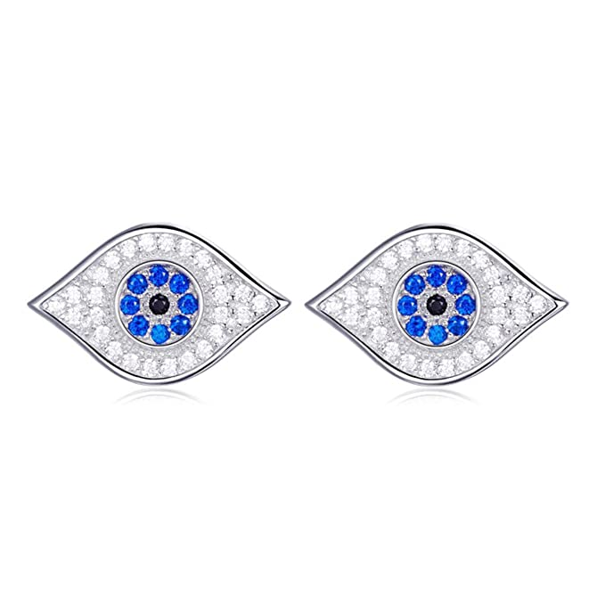 869c27a32 Image Unavailable. Image not available for. Color: 925 Sterling Silver  Earring Stud Bling Lucky Blue CZ Evil Eye ...