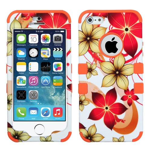 iPhone SE, iPhone 5S, iPhone 5 Case with [FREE 9H Tempered Glass] and [Stylus Pen] Full Body Protection [3-in-1 Package] by MyTurtle® Shockproof Cover (Orange Flowers)