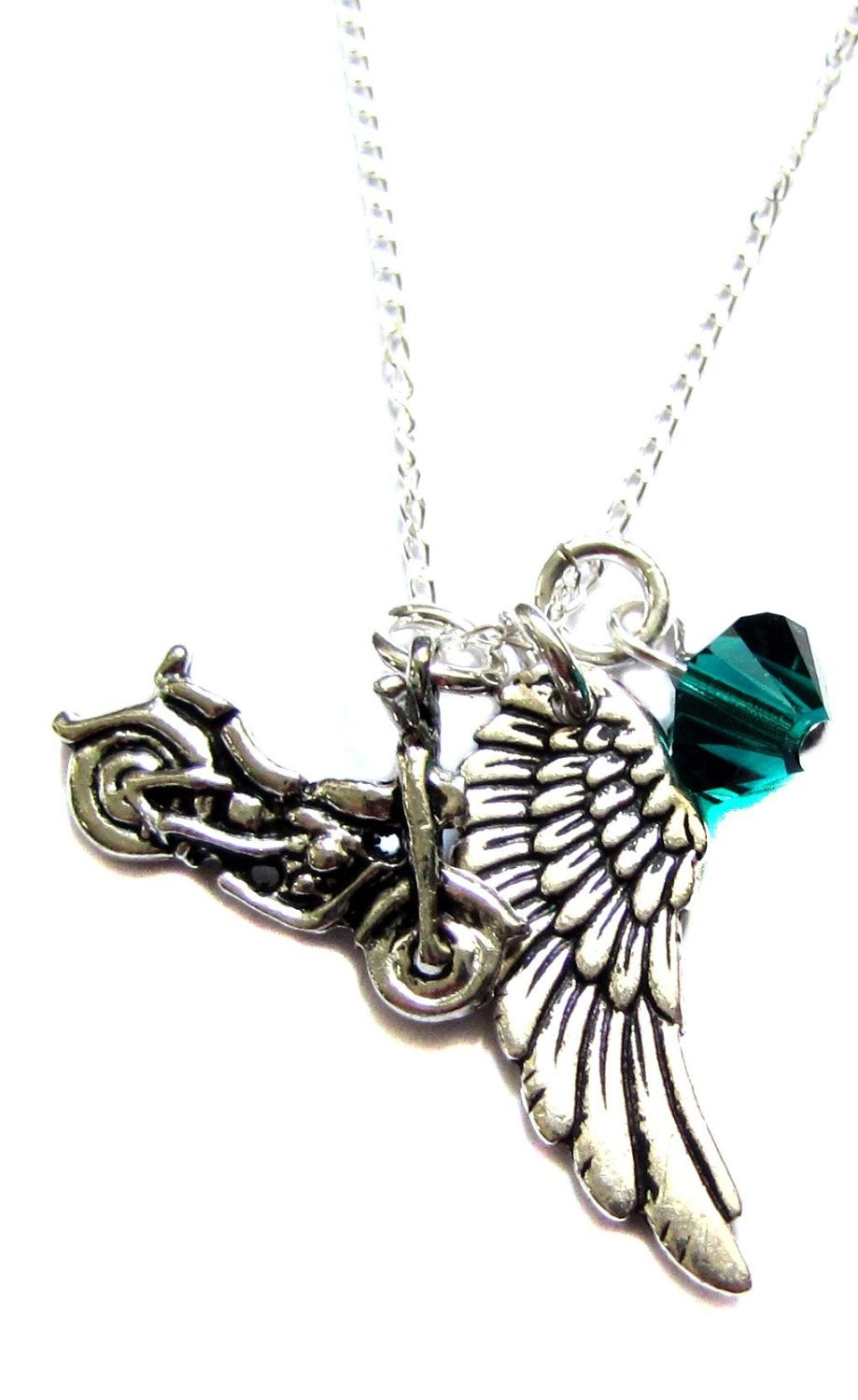 Motorcycle Angel Wing Charm Archangel Raphael Crystal Necklace 18'', Guardian Angel Safe Travels