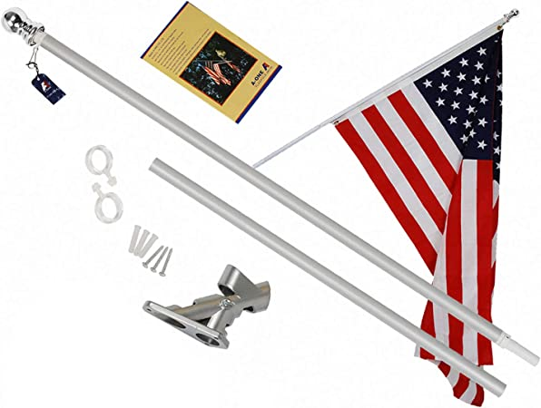 3X5ft embroidered flag, 5ft flag pole 6FT TANGLE FREE SPINNING FLAG POLE KIT
