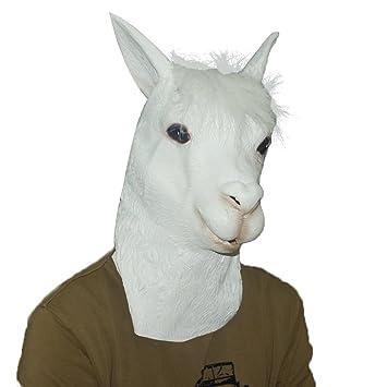 Jitong Halloween Animal Látex Cabeza Máscara Novedad Disfraces para Navidad Fiesta, Cosplay (Alpaca)