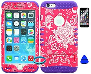 """Heavy Duty Hybrid Kickstand Cover Case for iPhone 6 plus 5.5"""" 6th Generation Pink Flower Snap on + Purple Silicone (Wireless fones wristband, prytool, and screen protector included)"""