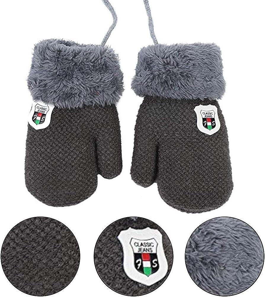 BESTZY Knitted Gloves Kids 2PCS Mittens Gloves Unisex Childrens Knitted Bear Mitten Winter Gloves for Children Age 2-4