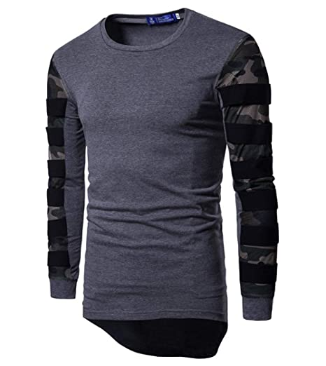 EverNight Camiseta Larga para Hombre Costuras De Malla De ...