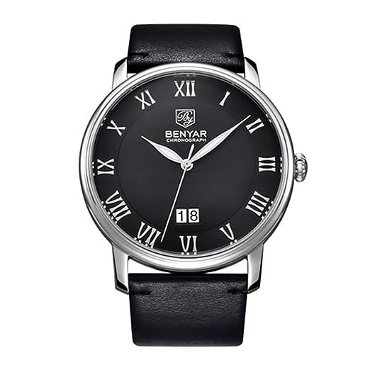 benyar marca lujo hombres cuero impermeable cuarzo reloj: Amazon.es: Relojes