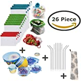 Zero Waste 26 Piece Bundle Starter Kit - 12 Reusable Mesh Produce Food Bags + 6 Reusable Silicone Stretch Lids + 8 Reusable Stainless Steel Straws with 2 Cleaning Brush with BONUS Carry Bag - Environmental Friendly & Sustainable
