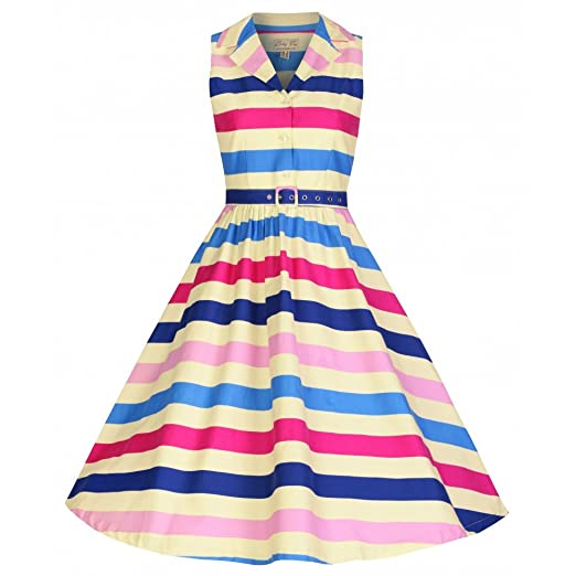 1950s Swing Dresses Lindy Bop Matilda Ice Cream Stripe Shirt Dress £19.60 AT vintagedancer.com