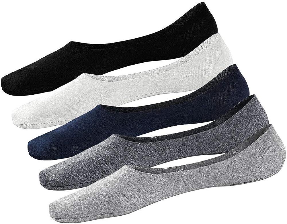 Calcetines cortos blancos y negros ALL ABOUT SOCKS Calcetines invisibles hombre Tiras de silicona - Antideslizante /& Algod/ón suave Pack de 5