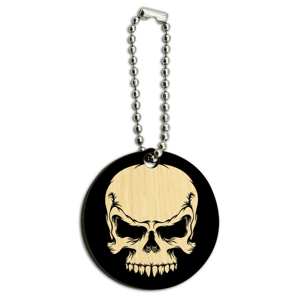 Tribal Skull on Black Wood Wooden Round Key Chain