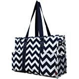 Navy White Print Large Travel Caddy Organizer Tote Bag