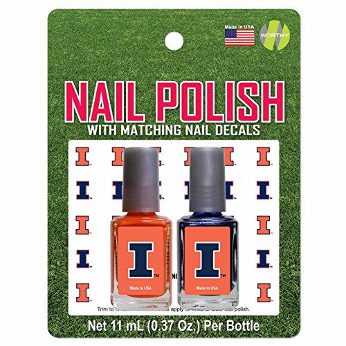 Illinois Fighting Illini 2 Pack Nail Polish With Decal - Team Color