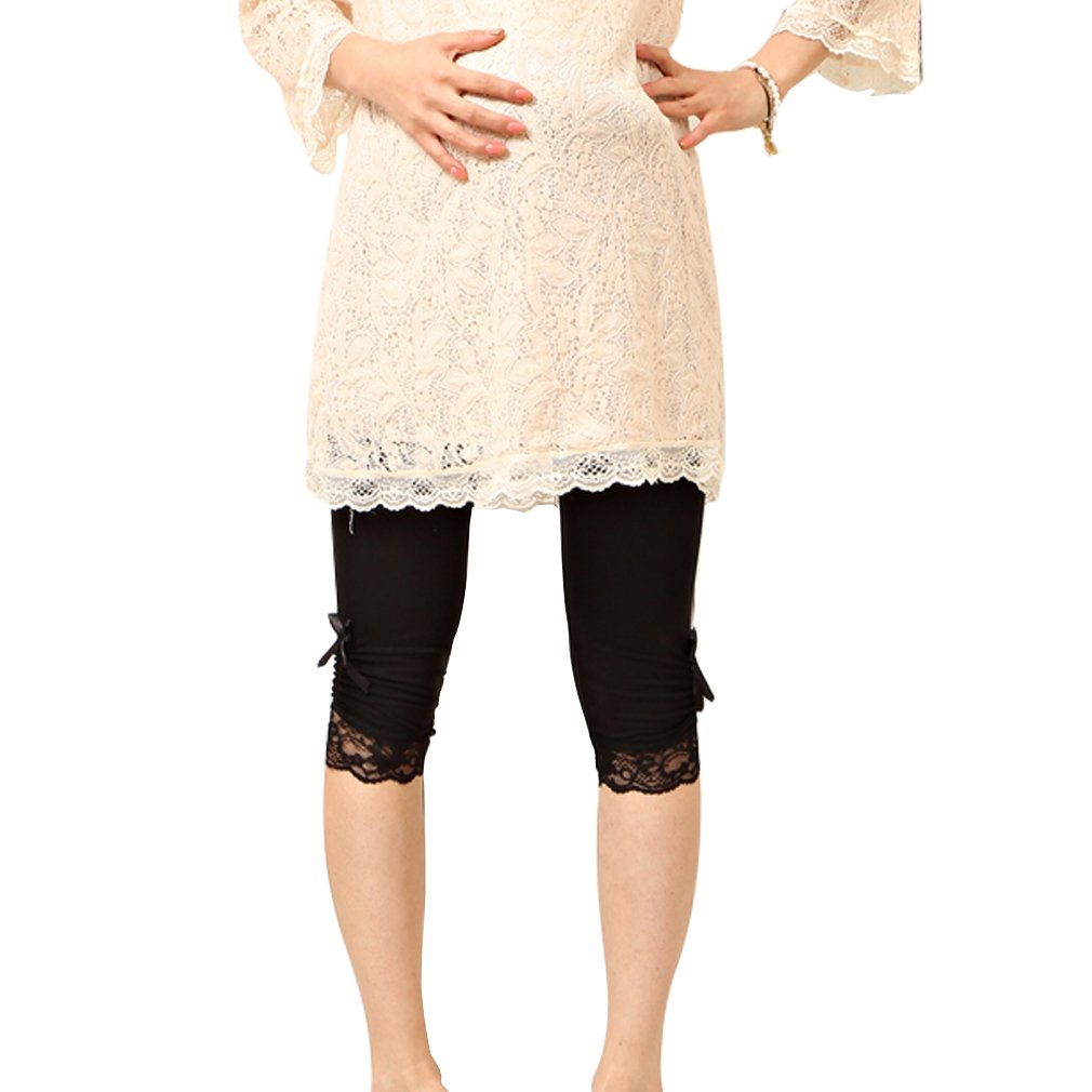 Liang Rou Maternity Ultra Thin Stretch Cropped Leggings Lace Trim Black PL8875