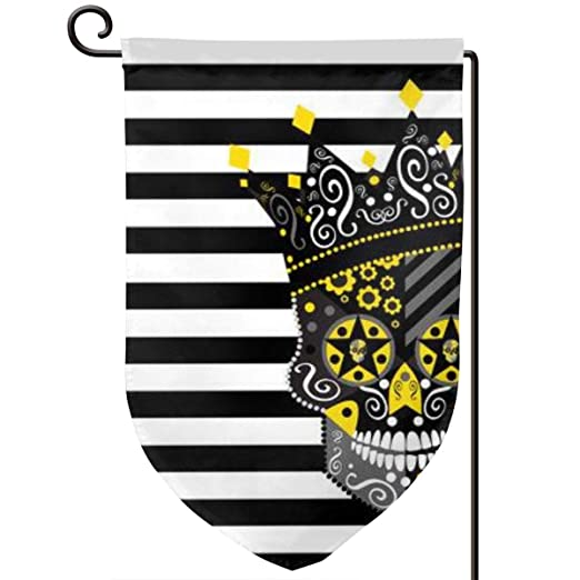 King Skull Icon Abstract with Black and White Art Garden Flag Yard ...